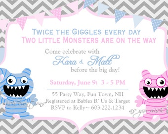 Monster Baby Shower Invitation Twins Chevron Blue Gray Pink - Twins Baby Shower Invite Boy Girl Chevron - Shower Chevron Twin Monsters