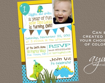 Dinosaur Birthday Invitation First Birthday Dinosaur Party Invitation 1st Birthday Dinosaur Invitations Printable Polka Dots Photo ANY AGE
