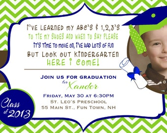 Preschool or Kindergarten Graduation Invitation or Graduation Announcement Photo Card Chevron - Cap & Gown - Diploma