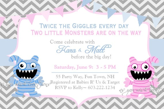 monster baby shower invitation twins invitation monster shower, Baby shower invitations