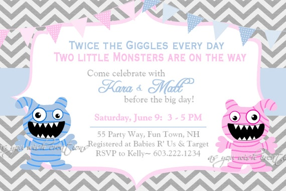 Captivating Monster Baby Shower Invitation Twins Invitation Monster Shower Etsy, Baby  Shower
