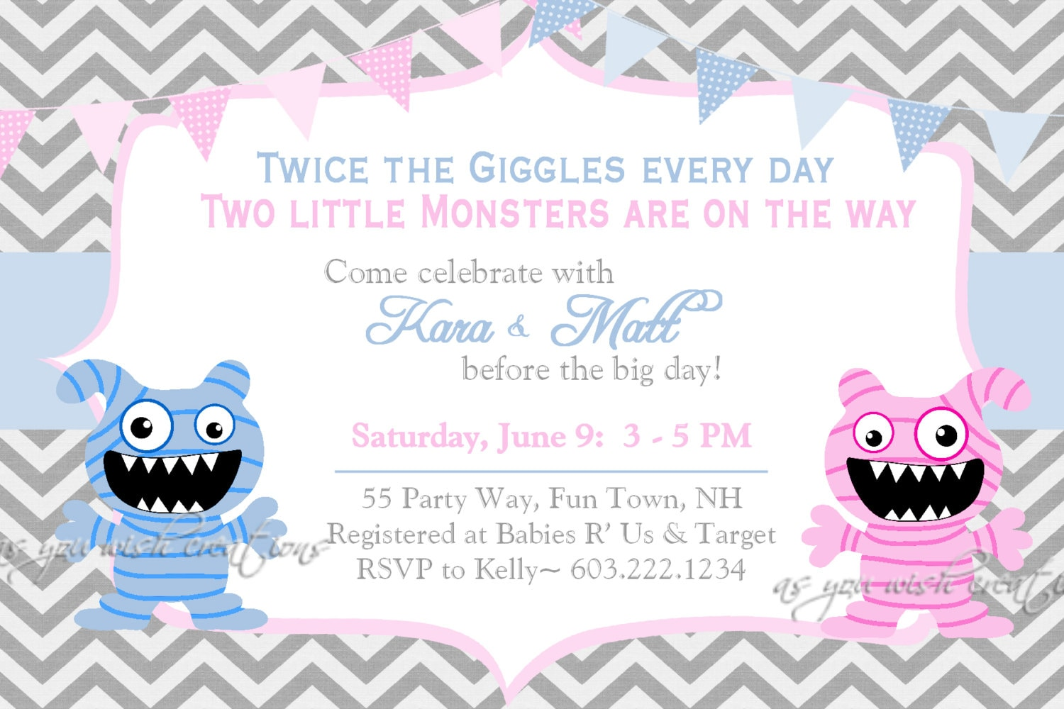 Monster Baby Shower Invitation Twins