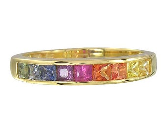 Multicolor Rainbow Sapphire Half Eternity Band Ring 18K Yellow Gold (1ct tw) SKU: 892-18K-Yg