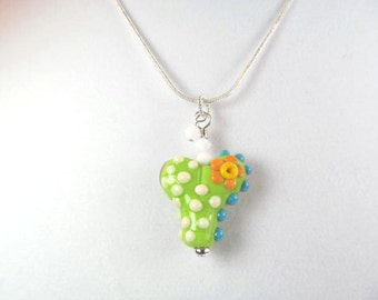 Necklace heart green multi glass lampwork bead and crystals
