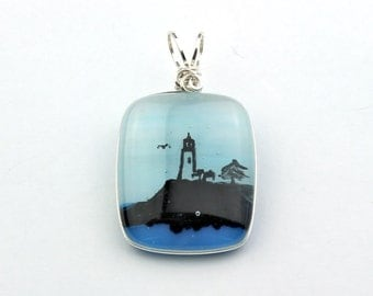 Lighthouse Pendant, Wire Wrapped Fused Glass Hand Drawn Image