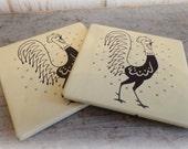 vintage pot roosters porcelain enamel coaster set