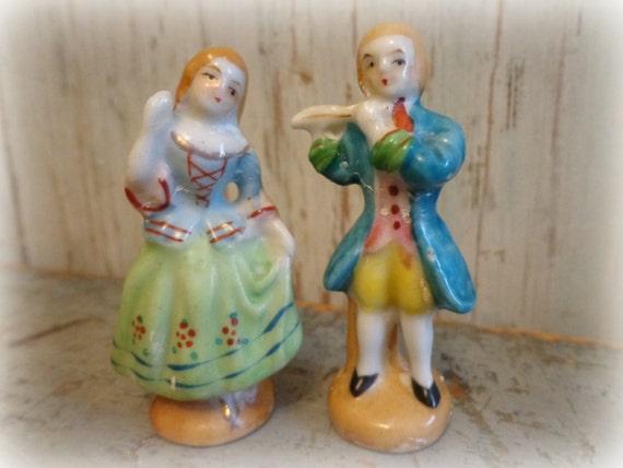 porcelain flutist & dancer occupied japan figurine set