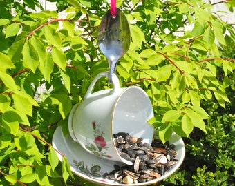Teacup Bird Feeder with Hand Stamped Bent Spoon- Here Birdie- Perfect Gift