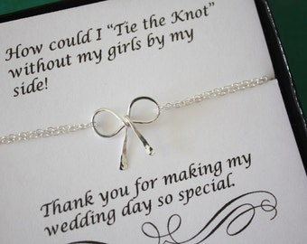 Tie the knot Bracelet Bridesmaid, Tie the Knot, Bridesmaid Gift, Sterling Silver Bow, Silver Knot Bracelet, Thank you card, Charm Bracelet