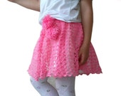 Crochet skirt  for  little princesses, lined, in pink, with pompoms, baby girl skirt, baby spring fashion