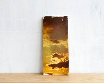 Cloudy Sky Image Transfer MINI on Wood - by Patrick Lajoie Fine Art Photography, golden sky, sunset