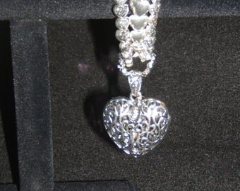Antique Silver Filigree Heart Bracelet with Heart Pendant