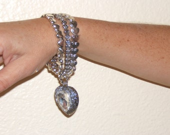 Silver Antique Heart Bracelet With Rhinestone Inset
