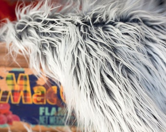 Mongolian Faux Fur Frosted Gray - Photography Prop - Newborn/baby Photography Prop - Longer length - Ready to ship - basket filler
