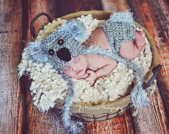 Crochet Koala Bear Hat with diaper cover - Gray black and gray fur- Photography Prop - 13 inch size - Made to order two days