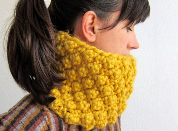 Hand knitted Neck Warmer in yellow, chunky cowl, chunky knit scarf, oversized headband, ear cuffs, yellow