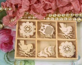 Wood Die Cut Embellishments, Laser Cut Embellishments, Wood Accents, Scrapbook Wood Die Cuts, Nature Die Cuts, Birds, Owls, Flowers, Die Cut