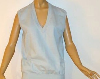 80s Sleeveless Top Sweat Shirt, Grey, V neck, two pockets, Vintage One of a Kind