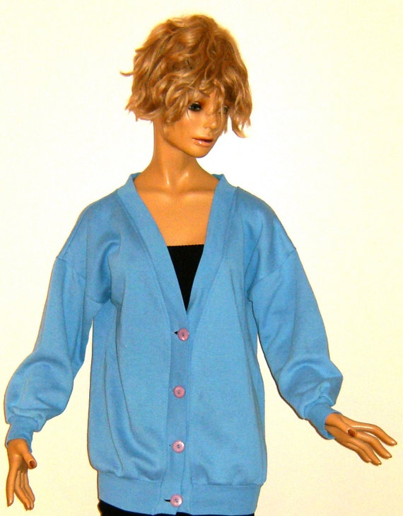Blue 80s Vintage Baggy Button Up Cardigan Sweat Shirt