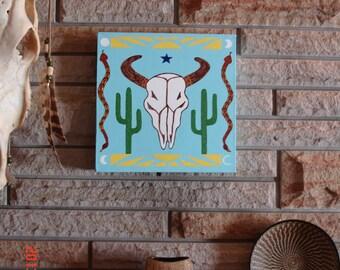 White Buffalo Original Southwest Folk Art Painting Acrylic on Canvas 12 x 12
