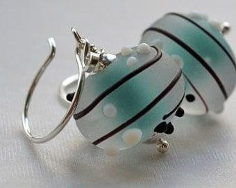 Dotty Sea Foam Earrings Big Artisan Glass with Bumpy Dots Aqua Blue White & Black All Sterling Silver, British Jewellery Gifts UK