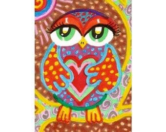 Owl Art, Childrens Room Decor, Orange And Yellow, Kids Wall Art, Whimsical Animal Art, Owl Print, Sweet Love Owl  by Paula DiLeo