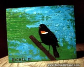 Watchman (Male Red-Winged Blackbird) is an acrylic on wood original painting by artist Rachel Dickson