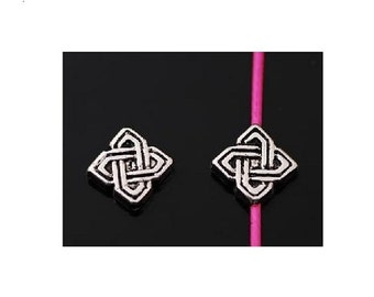 12 Square Celtic Knot Small Spacer Beads for Thread or Wire Antique Silver tone 7x2 mm