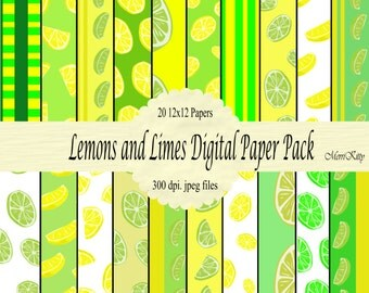 "INSTANT DOWNLOAD - Digital Scrapbook Paper Pack - Lemons and Limes - NO.5 - 20 12""x12"" Digital Papers"