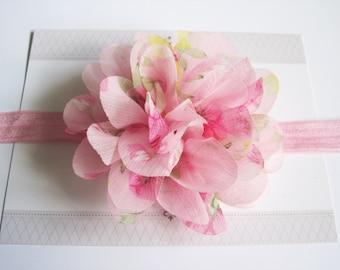 Pink Floral Chiffon Baby Headband, Infant Headbands, Baby Girl Headbands, Infant Bows, Baby Bows, Newborn Headbands
