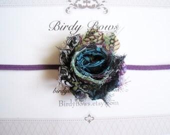Petite Peacock Shabby Flower Headband, Baby Headbands, Newborn Headbands, Infant Headbands, Baby Girl Bow, Infant Hair Bow,