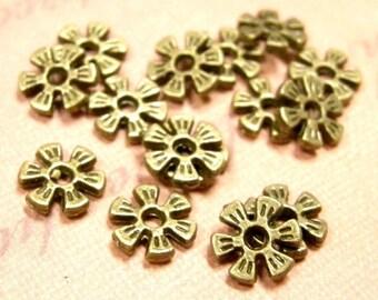 50pc 8mm antique bronze metal fancy flower  beads-819