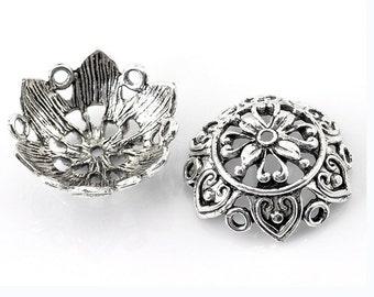6 pieces 25X10mm Antique Silver Finish Large Fancy Flower Beads Caps-899p