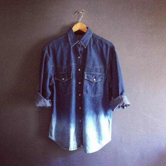 Vintage Dip Dye Hem Ombre Denim Shirt Dark By