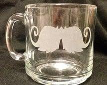 Dapper Gentleman Moustache STACHE Art Etched Hot Beverage Glass Mug