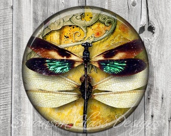 Pocket Mirror - Steampunk Dragonflies Photo Mirror - French Filigree - Compact Mirror - Green Yellow - Party Favor A22