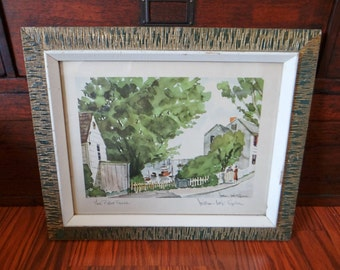 Vintage lithograph, William Mck Spierer signed, The Picket Fence,1950s