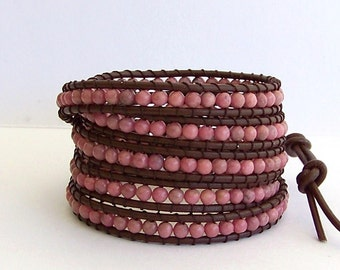 Leather Wrap Bracelet - Pink Rhodonite Semi-Precious Stone, Dark Brown Leather - Bohemian Artisan Chic