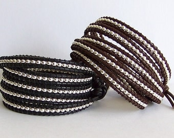 Leather Wrap Bracelet - Silver Plated Nuggets, Brown Leather, Black Leather - Boho Artisan Jewelry