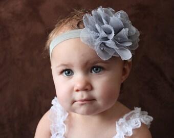 Baby Headband..Baby Flower Headband..Grey Headband..Infant Headbands..Flower Headbands..Baby Girl Bow..Baby Bow.. Baby Head Band