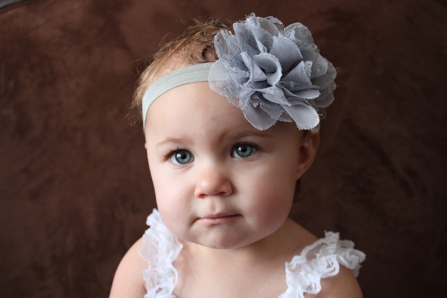 Baby Headband Baby Flower Headband Grey Headband Infant