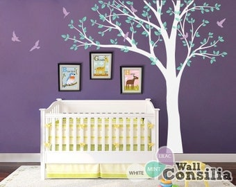 White Tree Wall Decal Huge Tree Wall Decals Nursery tree Mural Sticker with Birds Wall decor Art Tattoo - KC018