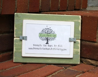 4x6 Picture Frame - Distressed Wood - Holds a 4x6 Photo - Sage Green & White