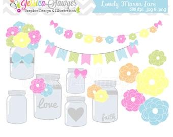 INSTANT DOWNLOAD,  Mason jar clipart - vintage wedding - bunting banner - patterned- commercial use - flower - digital element