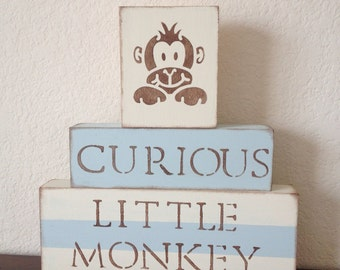 Monkey Nursery Blocks // Baby animal nursery decor light blue tan brown rustic room gender neutral nursery