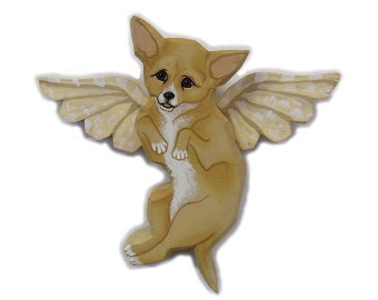Angel Dog Chihuahua Dog Angel Wooden Wall Hanging
