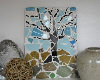Winter Tree Mosaic Decor Wall Art Panel Picture  in Blue, Green and Dark Grey
