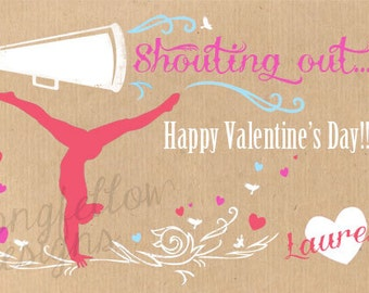 Cheer Valentine - 4 x 6 Printable Valentines - Customized Name - Digital File Only