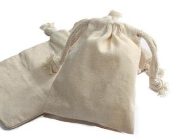 "50 pcs, 4""x6"" Natural Muslin Bags with Drawstrings"