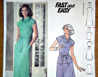 Cowl Neck Maxi Dress Cowl Neck Top and Flared Skirt Vintage 1980's Sewing Pattern Size 14 Bust 36